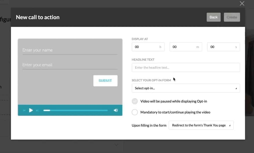 call to action opt-in form